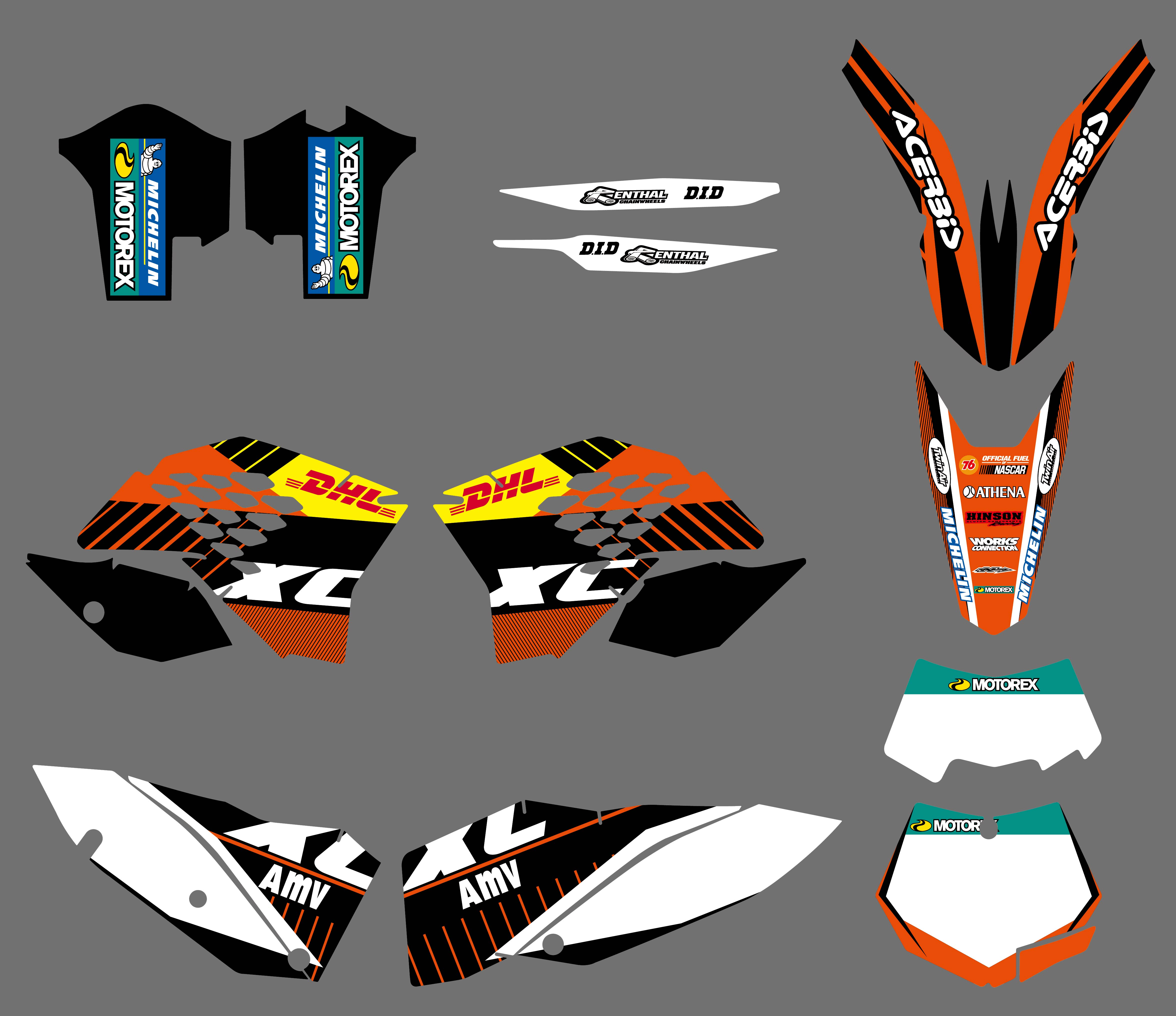 TEAM GRAPHICS /& BACKGROUNDS DECALS FOR KTM SX XC XC-W EXC 2008 09 10 2011 G