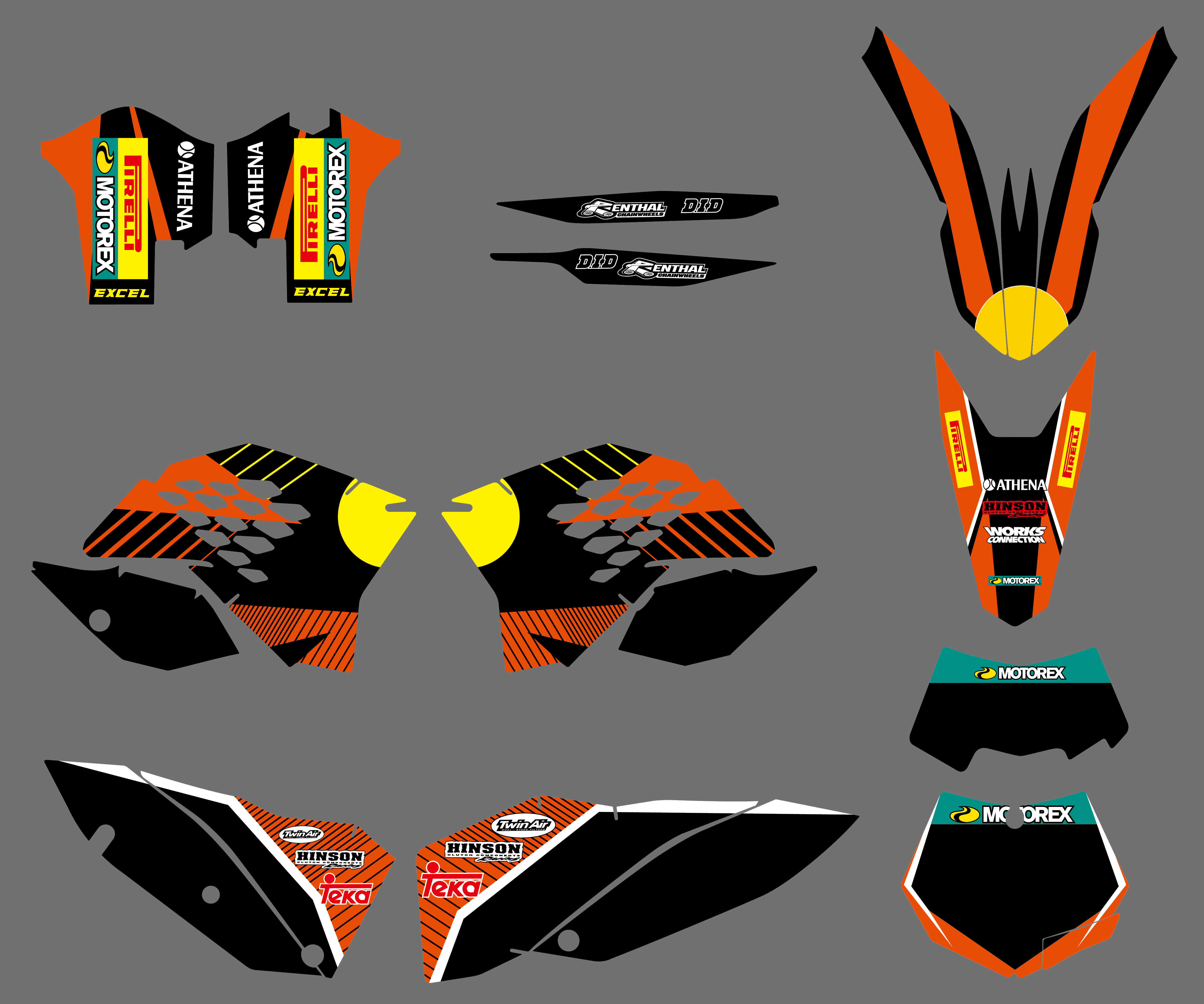 2008 2009 2010 KTM EXC XCF 125 250 300 450 530 REAR BACK FENDER GRAPHIC DECAL