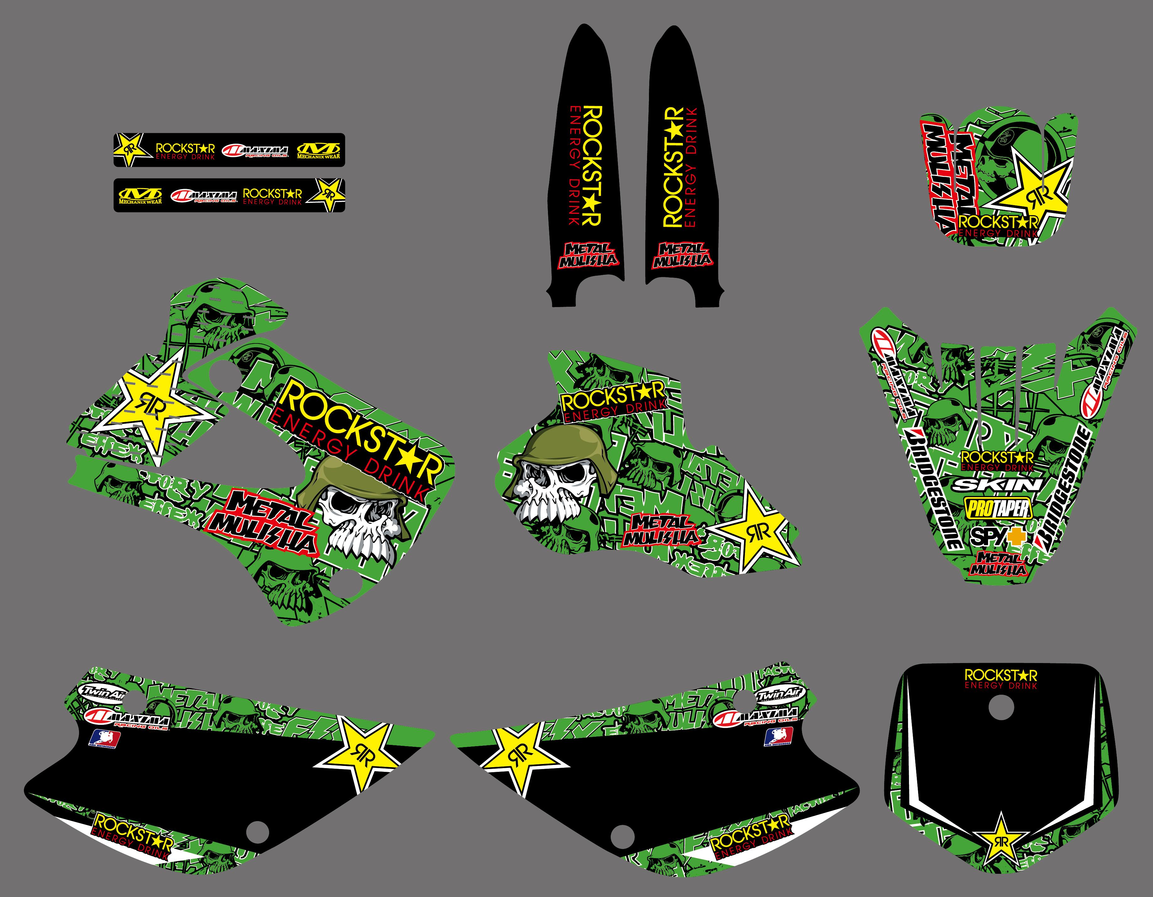 Pro Team Graphics Kit Deco Decal Stickers For Kawasaki KX80 KX100 1998 1999 2000